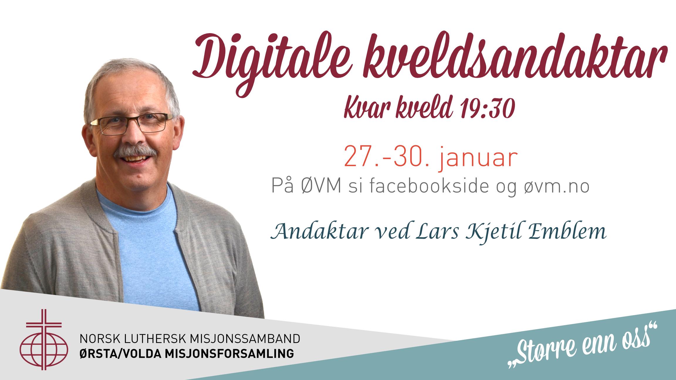 Plakat for kveldsandakt med Lars Kjetil Emblem